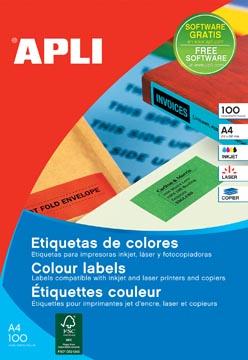Apli Etiquettes colorées ft 105 x 148 mm (l x h), jaune, 80 pièces 4 par feuille, pochette de 20 feuilles