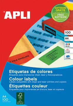 Apli Etiquettes colorées ft 105 x 148 mm (l x h), rouge, 80 pièces 4 par feuille, pochette de 20 feuilles