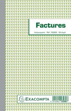 Exacompta factures, ft 21 x 13,5 cm, dupli, Français
