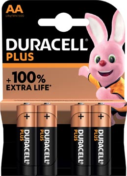Duracell piles Plus 100%, AA, blister 4 pièces