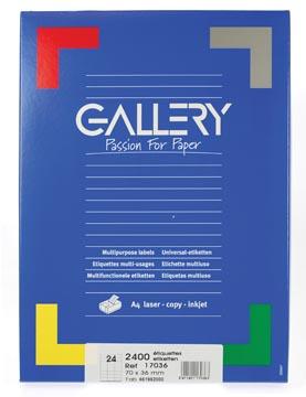 Gallery étiquettes blanches, ft 70 x 36 mm (l x h), coins carrés, 24 par feuille