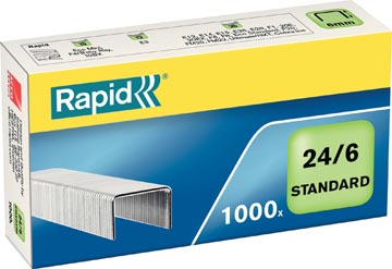 Rapid Agrafes 24/6, galvanisées, boîte de 1.000 pièces