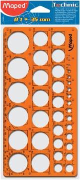 Maped gabarit de cercles, sous sachet de protection brochable