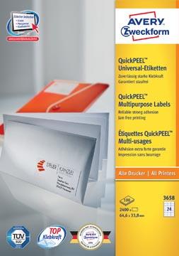 Avery Zweckform 3658, étiquettes universelles, Ultragrip, blanc, 100 feuilles, 64,6 x 33,8 mm