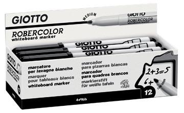 Giotto Robercolor, marqueur pour tableaux blancs, moyen, pointe ronde, noir