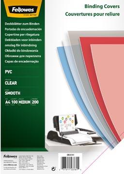 Fellowes couvertures pour reliure, ft A4, 200 microns, paquet de 100 pièces