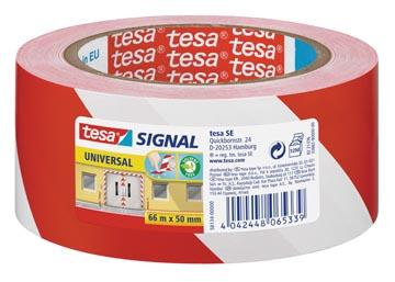 Tesa ruban de signalisation, ft 50 mm x 66 m, rouge/blanc