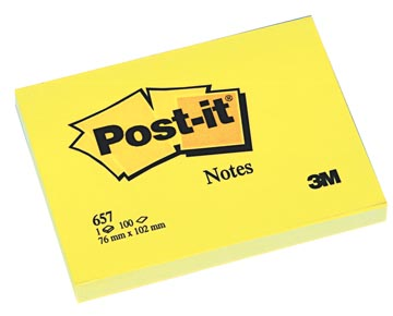 Post-it Notes, ft 76 x 102 mm, jaune, bloc de 100 feuilles