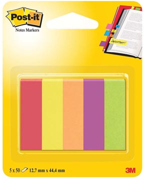 Post-it Notes Markers Jaipur, ft 12,7 x 44,4 mm, blister avec 5 blocs de 50 feuilles