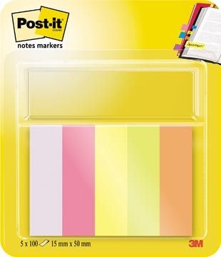 Post-it Notes Markers, ft 15 x 50 mm, couleurs assorties, blister avec 5 blocs de 100 feuilles