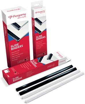 Pergamy baguettes à relier, paquet de 25 pièces, 15 mm, noir