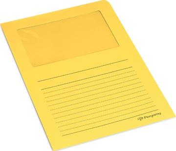 Pergamy pochette coin à fenêtre, paquet de 100 pièces, jaune