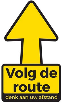Autocollant, texte: volg de route denk aan uw afstand, flèche, ft 30 x 30 cm (seulement en néerlandais)