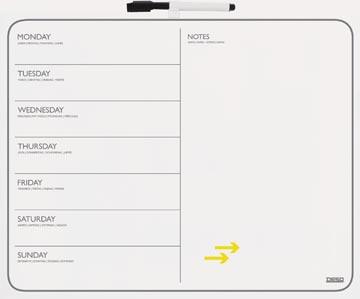 Desq planning magnétique par semaine et tableau d'affichage, ft 40 x 50 cm
