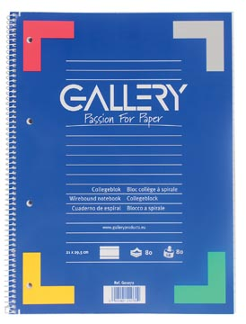 Gallery bloc de cours, reliure spirale, ligné, papier de 80 g/m²