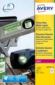 Avery Etiquettes blanches ultra-résistantes ft 63,5 x 33,9 mm (l x h), 480 pièces, 24 par feuille
