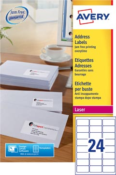 Avery L7159, Etiquettes adresses, Laser, Ultragrip, blanches, 250 pages, 24 per page, 63,5 x 33,9 mm