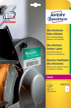 Avery étiquettes polyéthylène ultra-résistantes ft 210 x 297 mm (l x h), boîte de 10 étiquettes