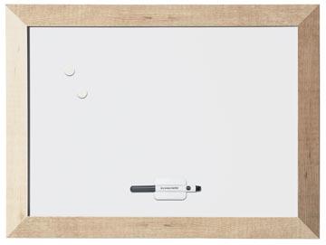 Bi-Office Tableau blanc magnétique Kamashi avec cadre naturel