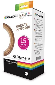 Polaroid filament 3D Root Play, en boîte distributrice avec 3 nuances de bois