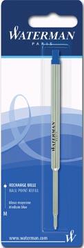 Waterman recharge pour stylo bille, pointe moyenne, bleu, sous blister