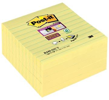 Post-it Super Sticky Z-Notes, ligné, jaune, ft 101 x 101 mm, 90 feuilles