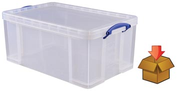 Really Useful Box 64 l, transparent, emballé individuellement en carton